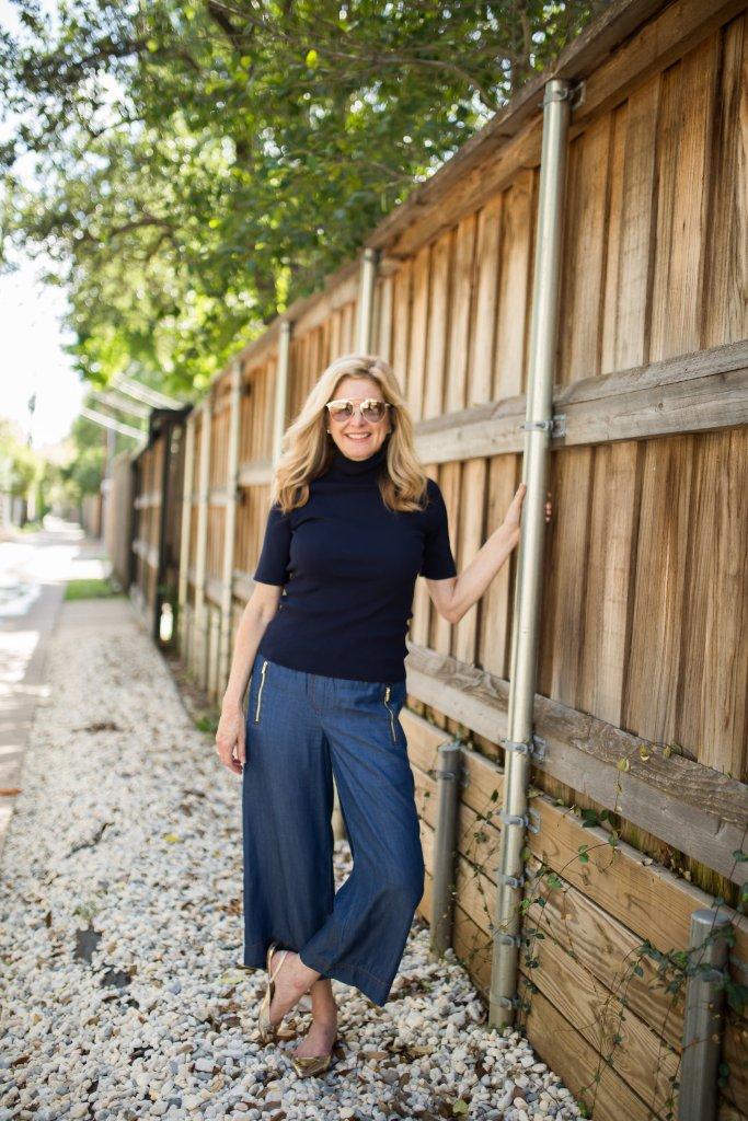 Jones NY, Dillard's, George Sharp, TanyaFoster.com, denim cropped pants, short sleeve mock turtleneck sweater