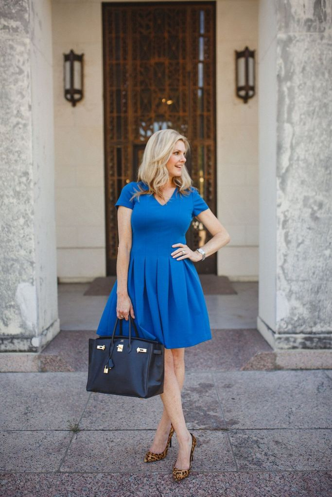 This Eliza J cobalt blue fit and flare dress is perfect for work or play.