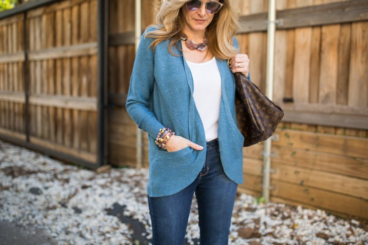 Lilla P cardigan and shell with NEST jewelry for a casual holiday look