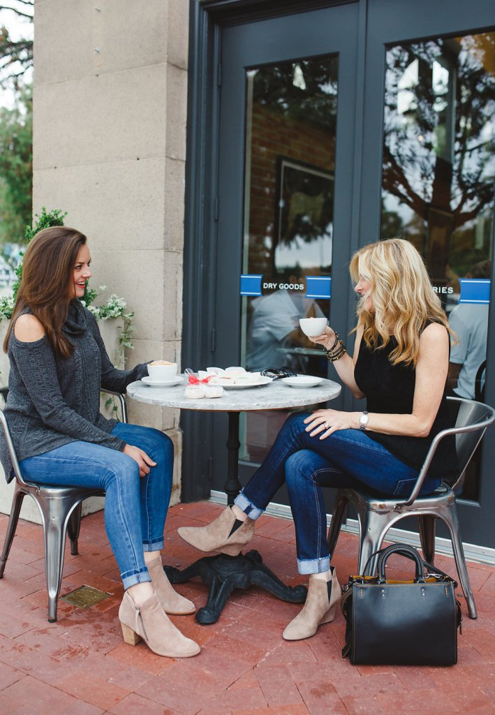 Tanya Foster and friend enjoy Le Gourmet Valet shortbread cookies at Royal Blue Grocery in Highland Park Village.