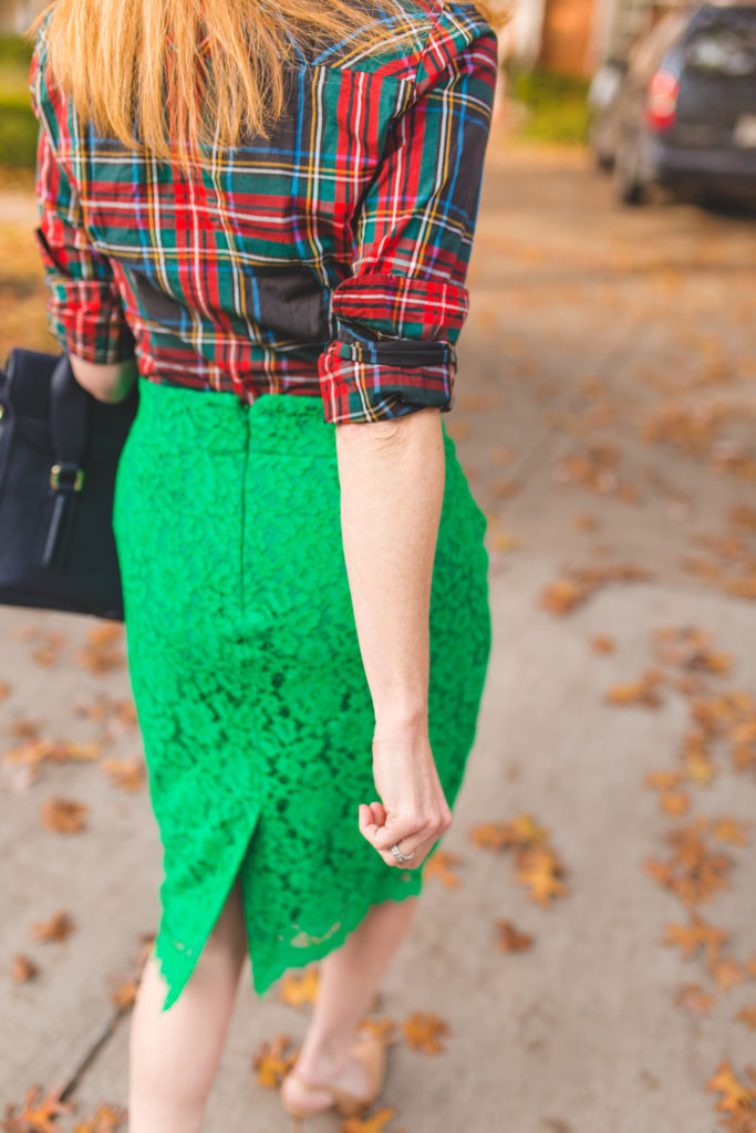 Mixing a bright green pencil skirt with a plaid shirt from J. Crew on TanyaFoster.com