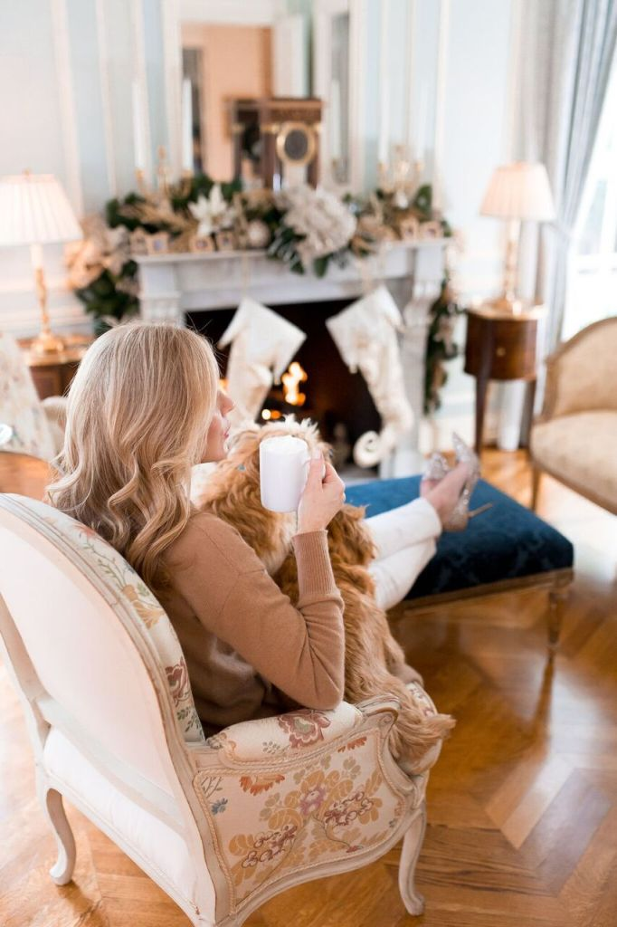 Tanya Foster at home in front of her fire place