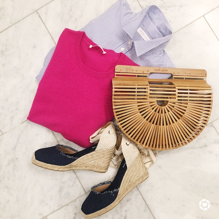 Cult Gaia neutral bag with Everlane shirt and sweater paired with Solulos shoes