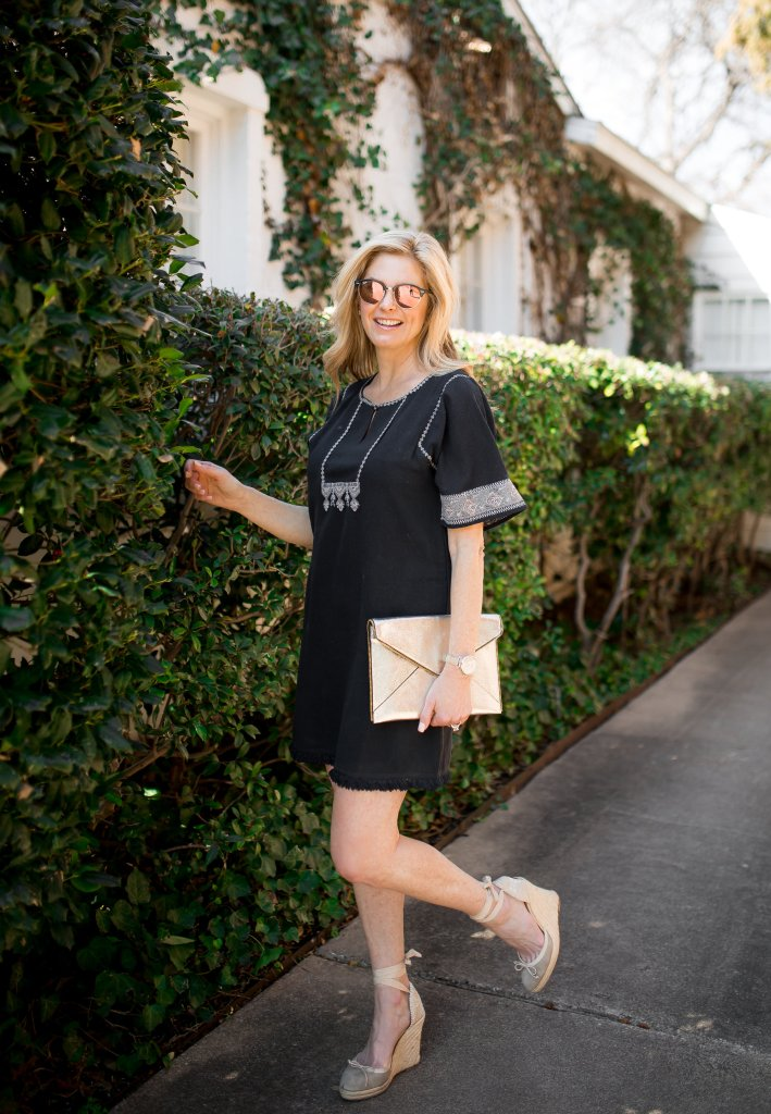 How to dress up a Lilla P casual black dress.