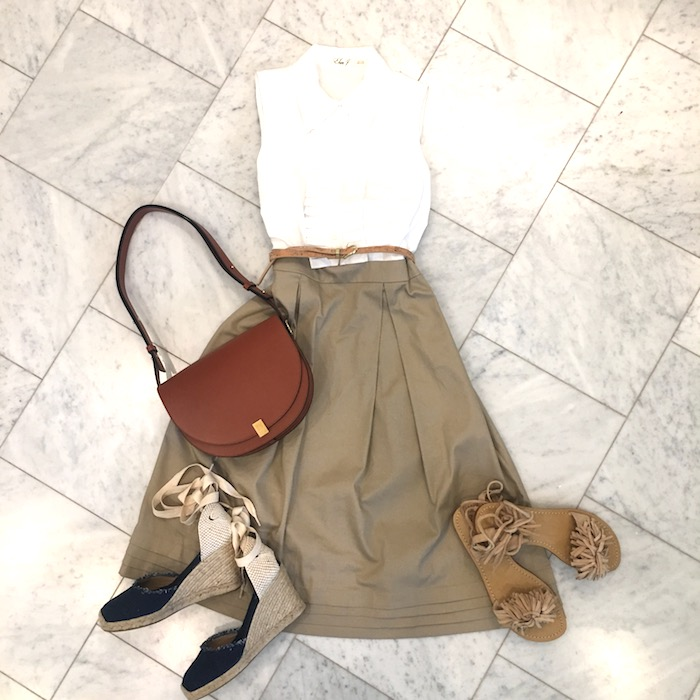 Dress with espadrilles and sandals flat lay