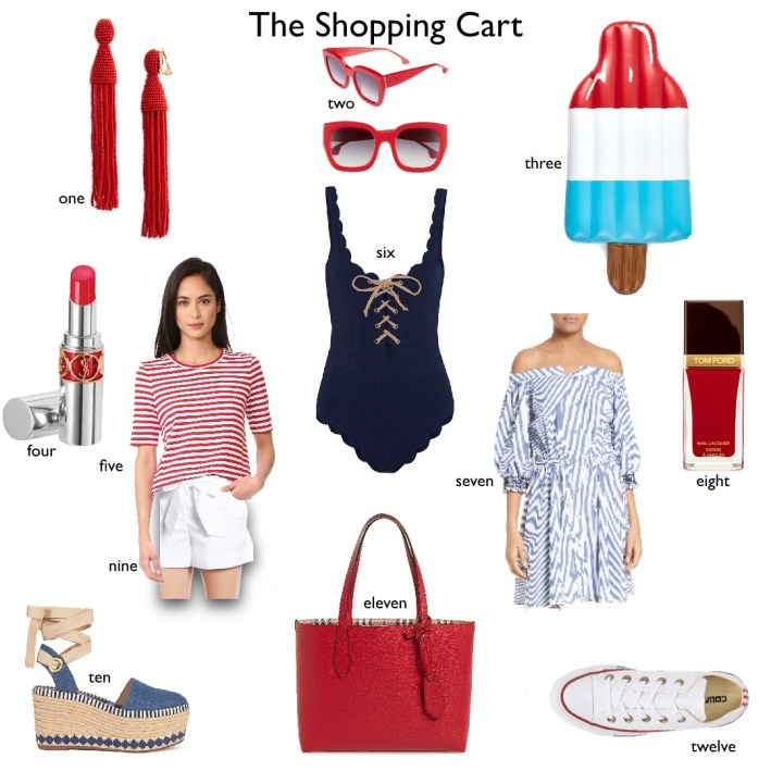 Memorial Day weekend shopping inspiration with red, white and blue fashion.