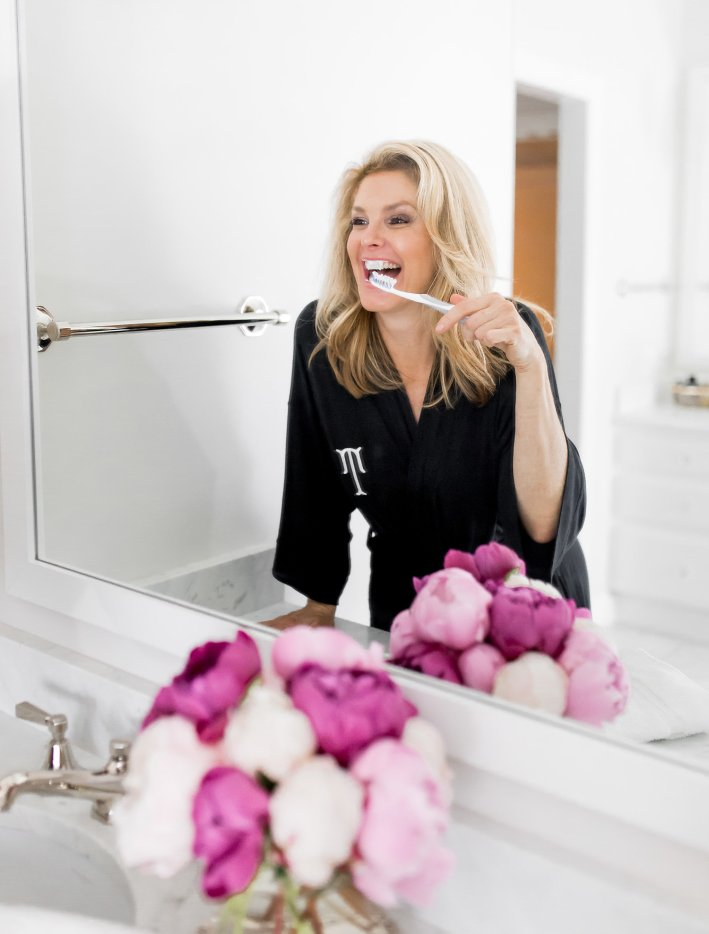 Tanya Foster using AP-24 whitening fluoride toothpaste to whiten her teeth