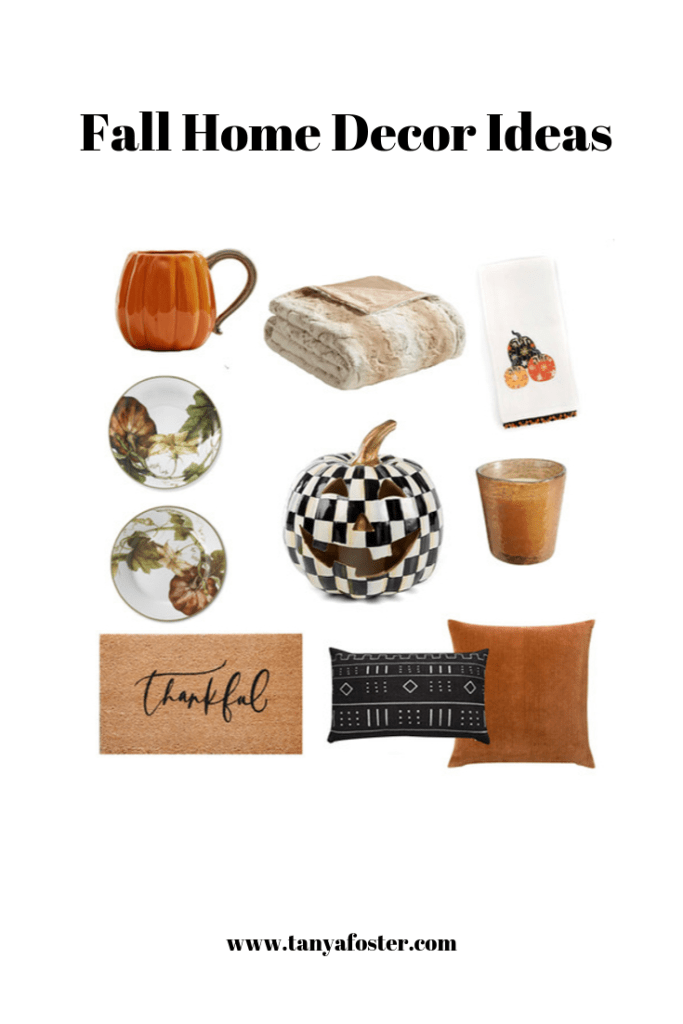 Fall Home Decor 2019   2019 Fall Home Decor Ideas by popular Dallas luxury life and style blogger, Tanya Foster: collage image of Etsy Proper Letter Thankful Doormat, Target Marselle Oversized Faux Fur Throw, Mackenzie Childs Pumpkin Party Dish Towel, Pottery Barn PUMPKIN SHAPED MUG, Mackenzie Childs Courtly Check Illuminated Jack O' Lantern, Williams Sonoma Botanical Pumpkin Dinner Plates, and Williams Sonoma Botanical Pumpkin Salad Plates.