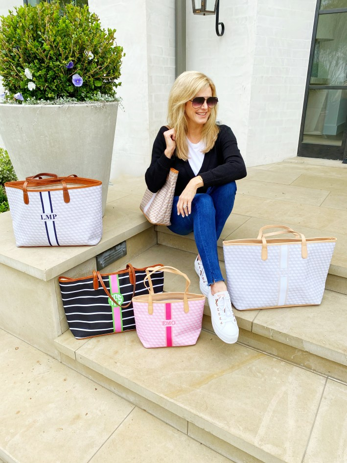 Tanya Foster with monogrammed Barrington tote bags
