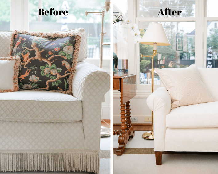 Before and after sofa arm