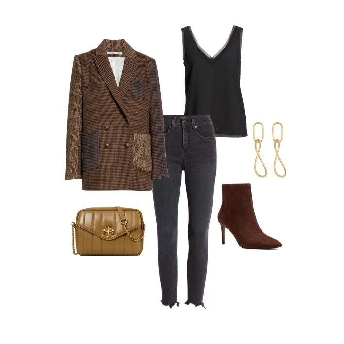 Veronica beard blazer with jeans and accessories