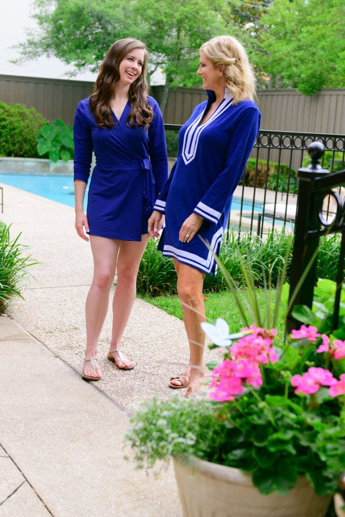Tanya Foster and assistant in cabana life romper and terry tunic