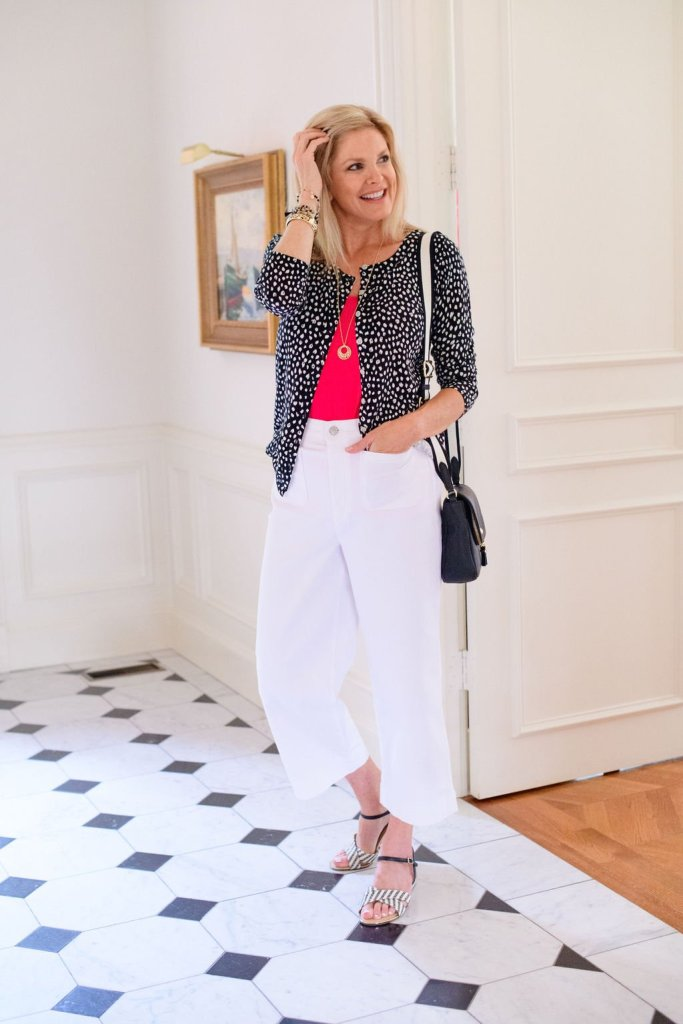 Tanya Foster in talbots leopard chamring cardi with white crop denim pants a pink tank and sandals