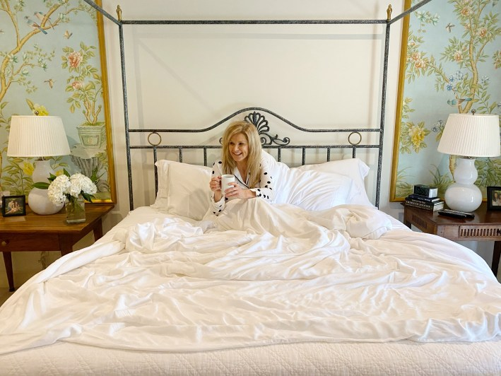 Tanya Foster in her Cozy Earth Premium Bamboo sheets