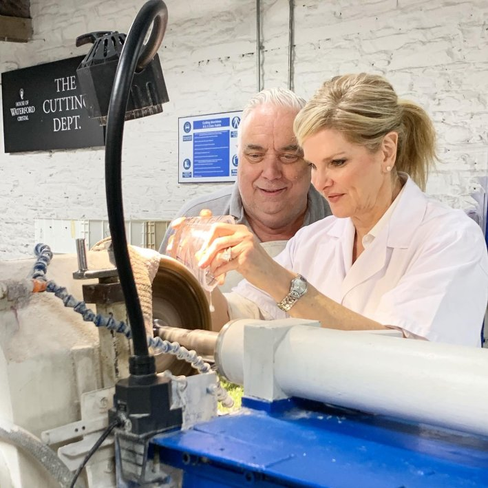 Making crystal at Waterford Crystal, Ireland | 8 Reasons to travel to Ireland now! by popular Dallas travel blogger, Tanya Foster: image of a woman making crystal at Waterford Crystal.