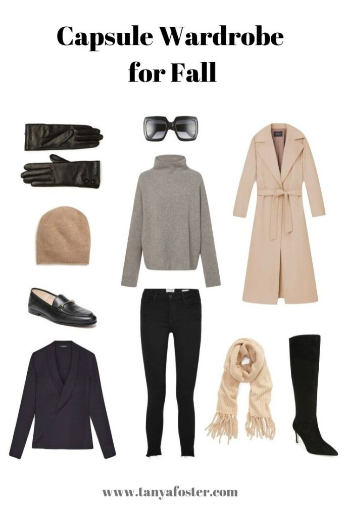 Fall Capsule Wardrobe by popular Dallas fashion blogger, Tanya Foster: collage image of various fall capsule clothing items and accessories.