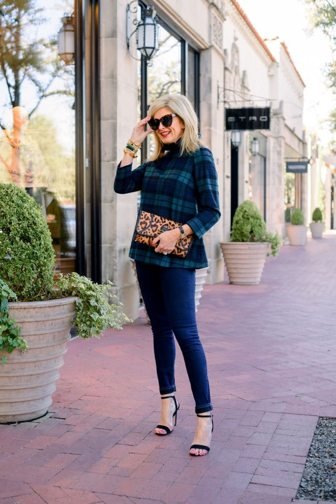 Tanya foster wearing tuckernuck tartan top plaid blouse denim and aimee kestenberg animal print clutch