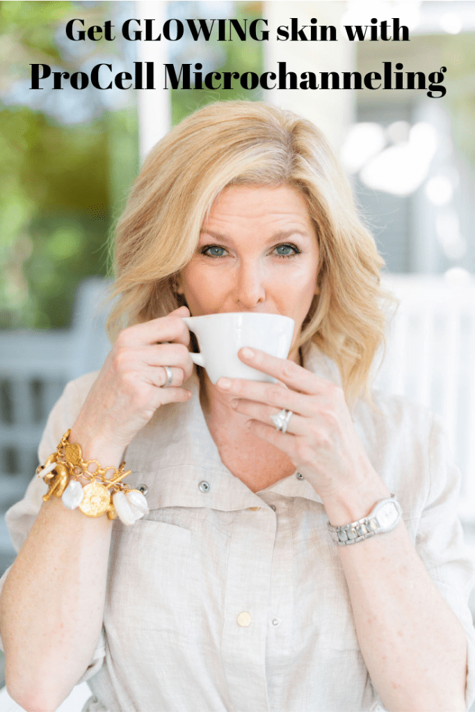 Should You Consider Procell Microchanneling? | Should You Consider Procell Microchanneling? | Should You Consider ProCell Microchanneling? +Eleven Wellness Giveaway! by popular Dallas beauty blogger, Tanya Foster: image of a woman sitting outside and sipping a latte.
