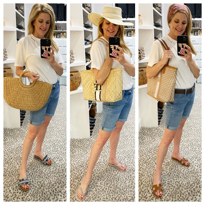 Tanya Foster wearing talbots girlfriend denim jean shorts three ways