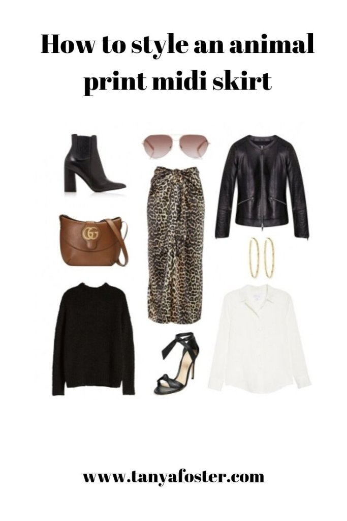 How to style an animal print midi skirt | Fall Trend Alert | Leopard Print Midi Skirt by popular Dallas luxury fashion blogger, Tanya Foster: collage image of Nordstrom Ganni Leopard Print Silk Satin Midi Skirt, Lafayette Glazed Weightless Lambskin Quilted Everly Jacket, Nordstrom Chunky Knit Sweater, Nordstrom Stretch Silk Button-Up ShirtAlexandre Birman Clarita Sandals, and Tabitha Simmons Noa Leather Ankle Boots.