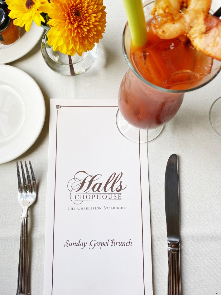 Sunday Gospel Brunch menu and Bloody Mary at Halls Chophouse
