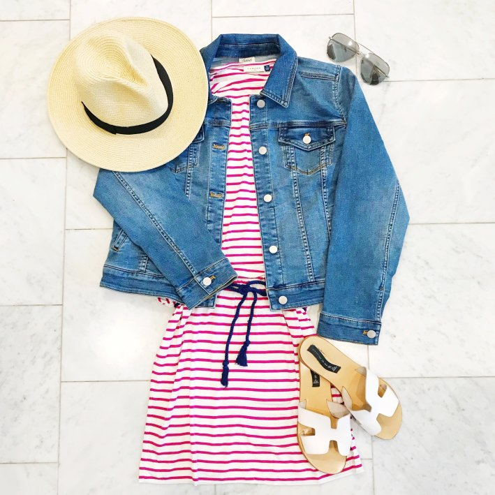 Cabana Life dress and Soma denim jacket for a comfy travel look