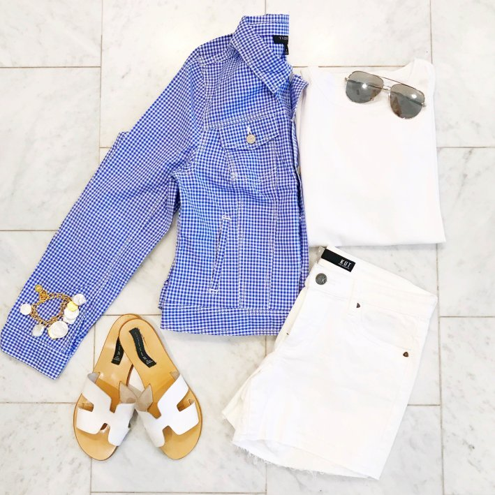 Gingham jacket and fresh whites for the beach