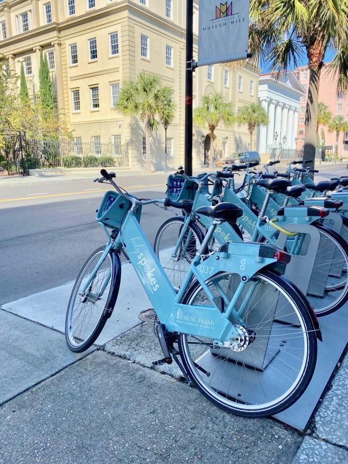 Rental bikes in historic downtown Charleston, South Carolina