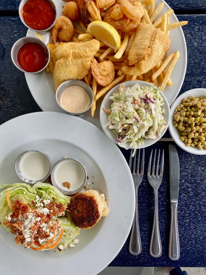 Wedge salad and fried food at Fleet Landing