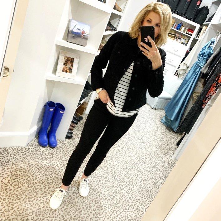 Black denim jacket, stripe tee and black jeans