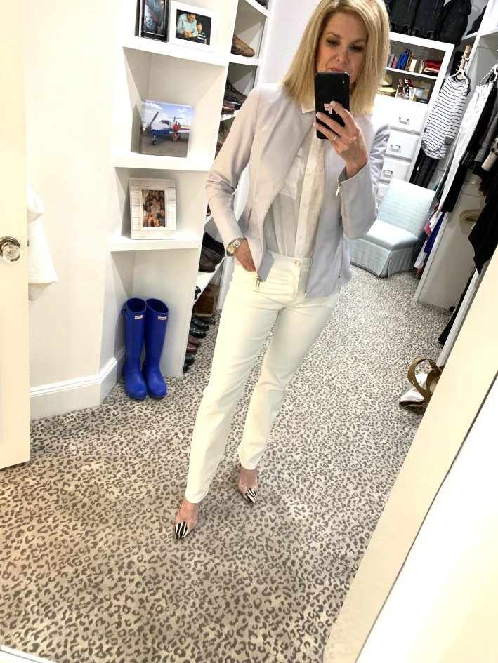 Lafayette 148 white wax jeans, white linen shirt and lavender leather jacket