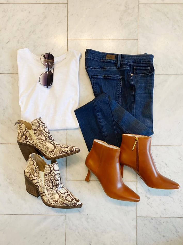 vince camuto boots and louise et cie lenci boots and white tee denim and quay sunglasses