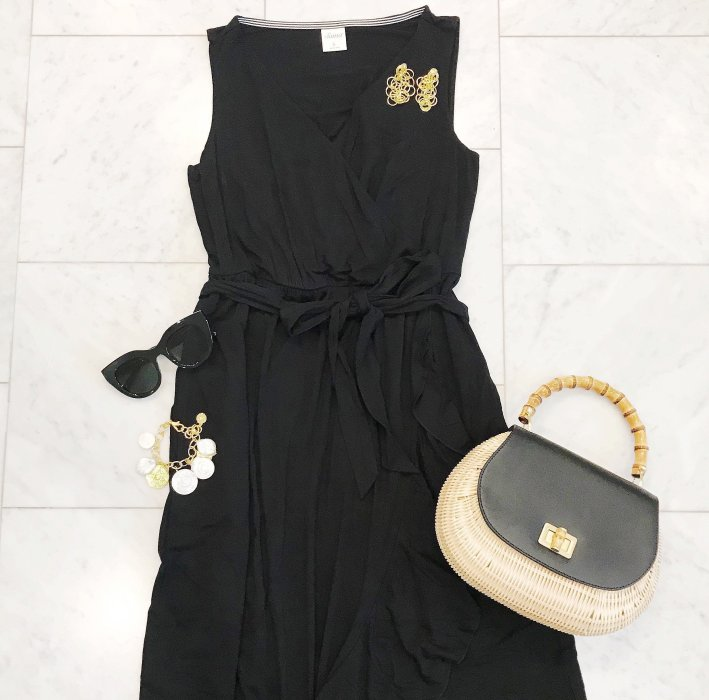 Soma black ruffle maxi and Talbots woven bag are beach vacation must-haves