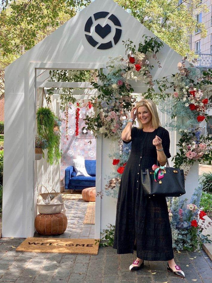 Loveshack Fancy black dress with Cecelia New York Deacon flats