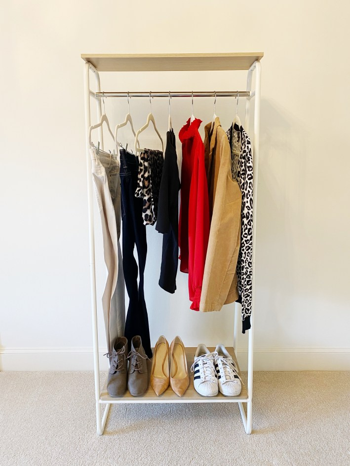 Clothing rack with key pieces to expand wardrobe