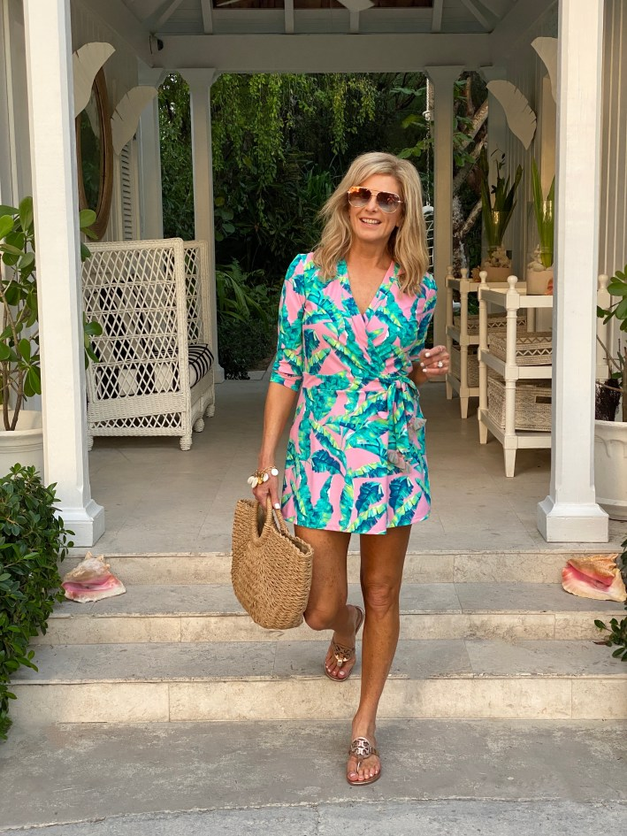 Tanya Foster in Cabana Life Romper and a beach bag
