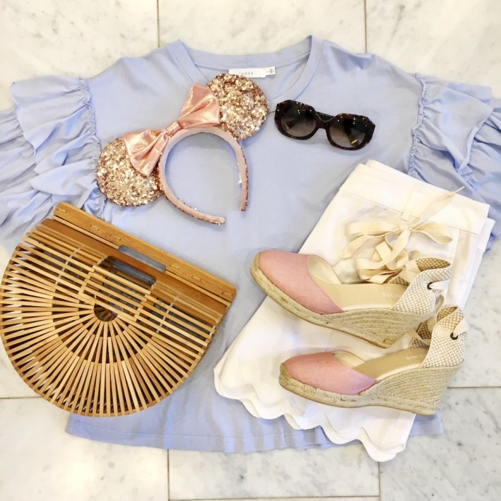 Blue shirt, white shorts, Cult Gaia bag and pink espadrilles