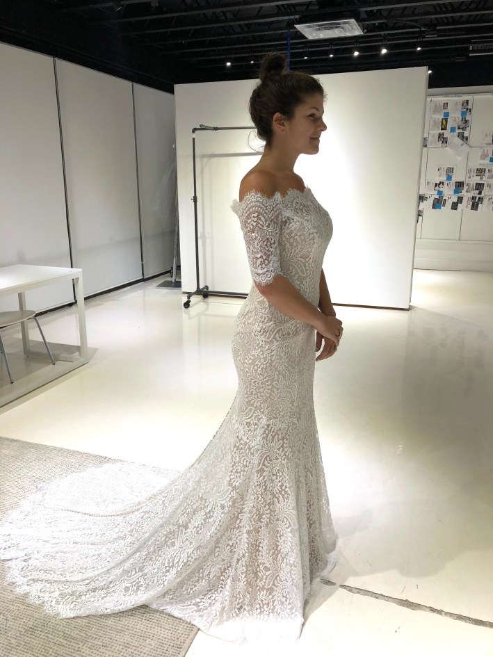 This beautiful Wtoo by Watters bridal gown was shortened to become a rehearsal dress