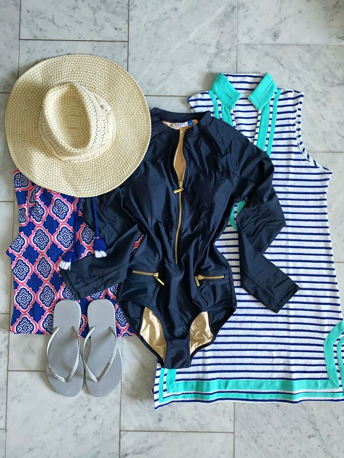 Cabana Life swimsuit dress and coverup straw hat havianas flip flops