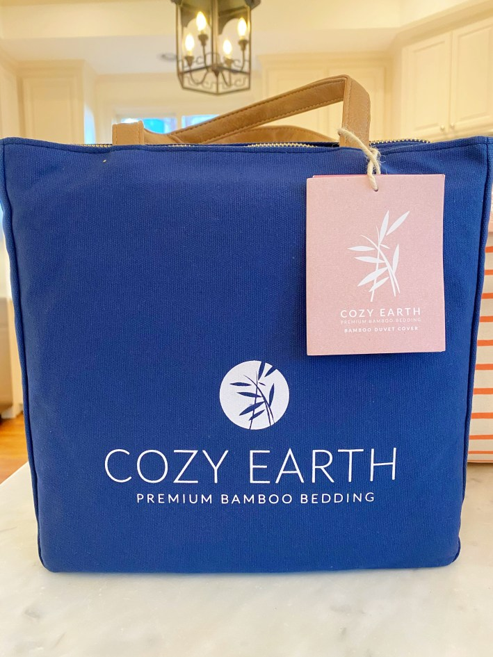 Cozy Earth bedding in packaging
