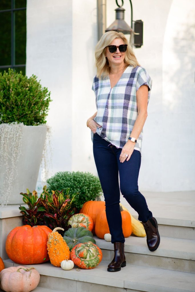 Tanya Foster wearing JAG jewelry and goods Jana top in flannel plaid
