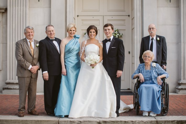 Tips on How to Move Forward After Losing a Parent by popular life and style blogger, Tanya Foster: image of a family standing together for a wedding picture.