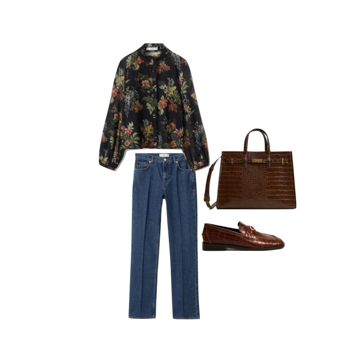 Mango blouse and jeans with shoes and bag