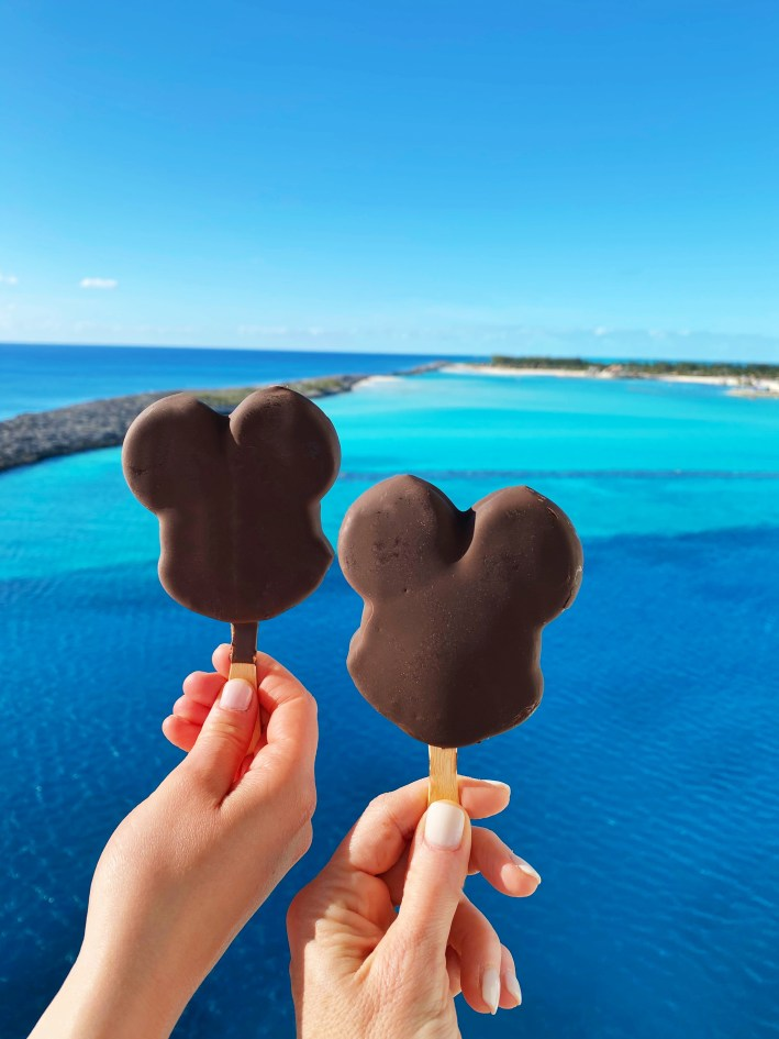 Two Mickey Mouse ice creams on the Disney Dream