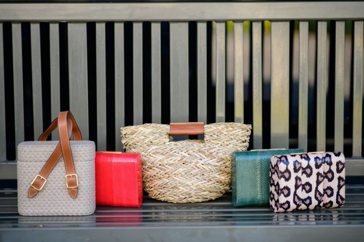 officina del poggio basket bag safari bag and three leather clutches