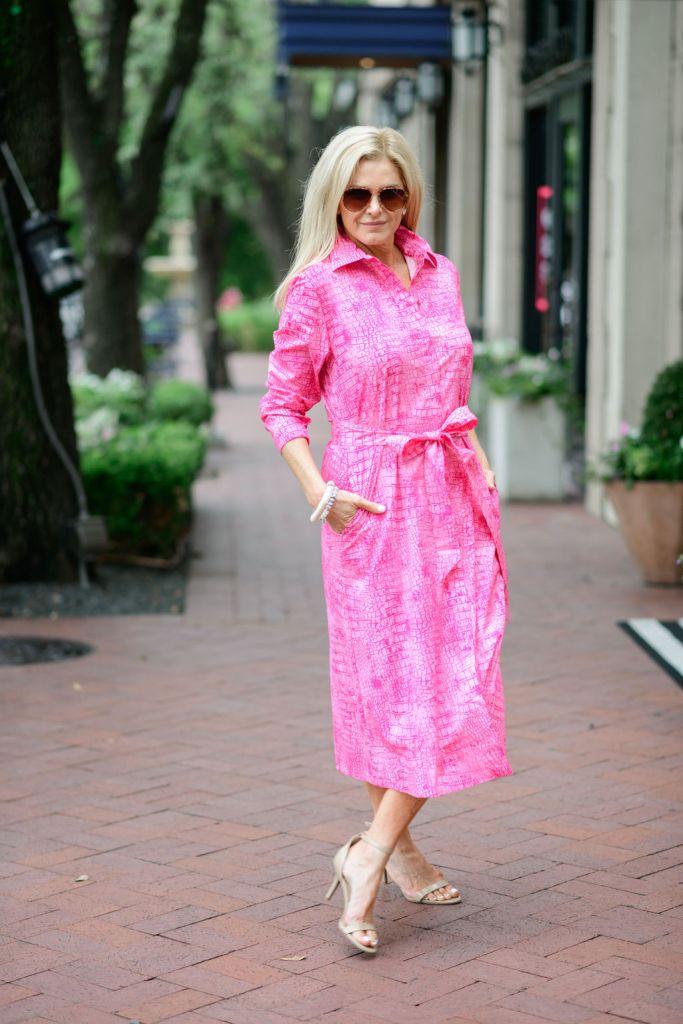 tanya foster wearing chico's pink poplin shirt dress