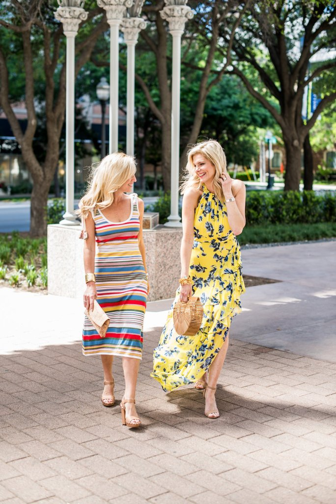 rewardStyle conference 2018 in yellow Eliza J maxi dress and cult Gaia bag