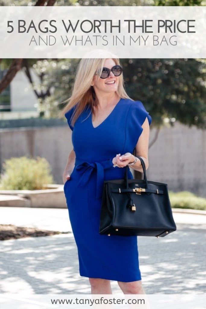 5 Bags worth the price | 5 Best Designer Bags to Invest in and What's in my Bag by popular Dallas fashion blogger, Tanya Foster: image of a woman standing outside and holding a black Hermes Birkin handbag.