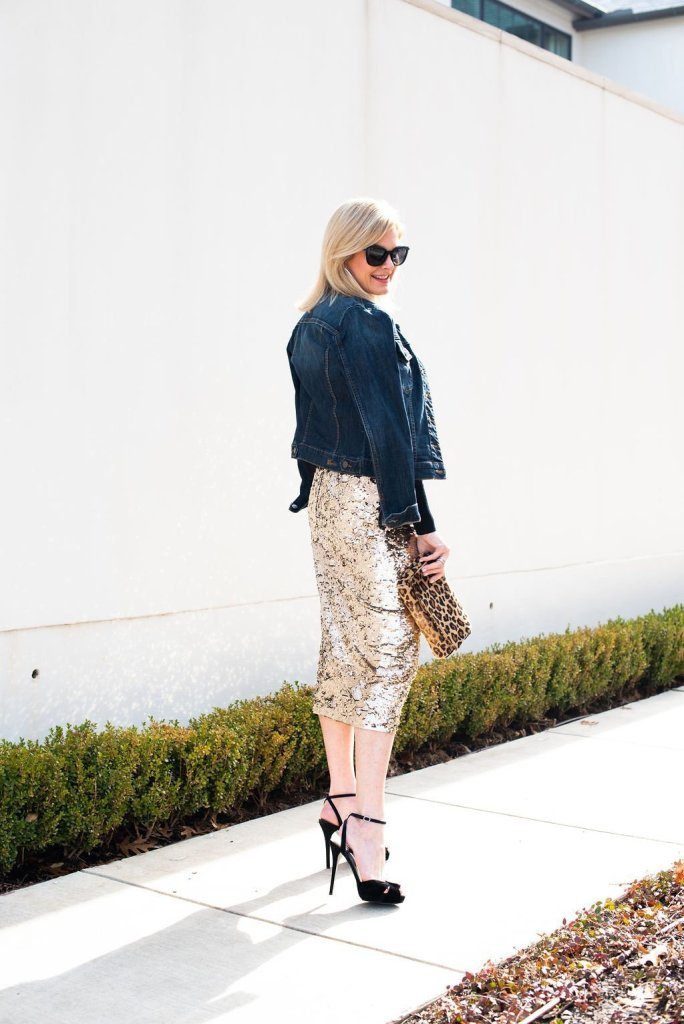Lafayette 148 sequin skirt and black turtleneck sweater