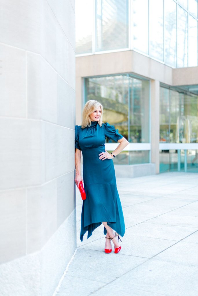 Teal | Fall Color Trend | Teal | Fall Color Trends by popular Dallas fashion blogger, Tanya Foster: image of a woman outside wearing a Nordstrom Eliza J. Ruffle Puff Sleeve Dress.